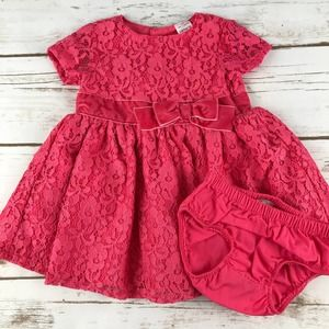 Carter's Baby Girl Pink Lace Dress & Bloomers